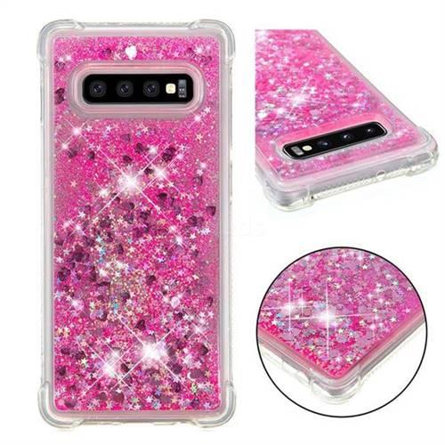 Dynamic Liquid Glitter Sand Quicksand TPU Case for Samsung Galaxy S10 Plus(6.4 inch) - Pink Love Heart