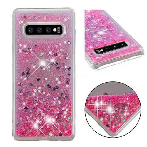 Dynamic Liquid Glitter Quicksand Sequins TPU Phone Case for Samsung Galaxy S10 Plus(6.4 inch) - Rose