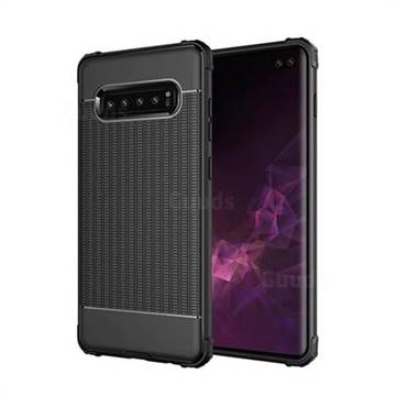 Luxury Shockproof Rubik Cube Texture Silicone TPU Back Cover for Samsung Galaxy S10 Plus(6.4 inch) - Black