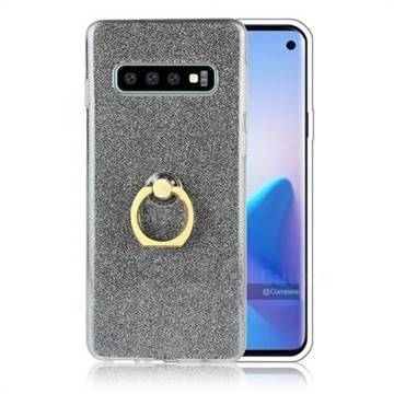 Luxury Soft TPU Glitter Back Ring Cover with 360 Rotate Finger Holder Buckle for Samsung Galaxy S10 Plus(6.4 inch) - Black