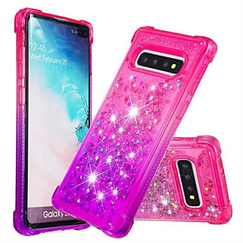 Rainbow Gradient Liquid Glitter Quicksand Sequins Phone Case for Samsung Galaxy S10 Plus(6.4 inch) - Pink Purple