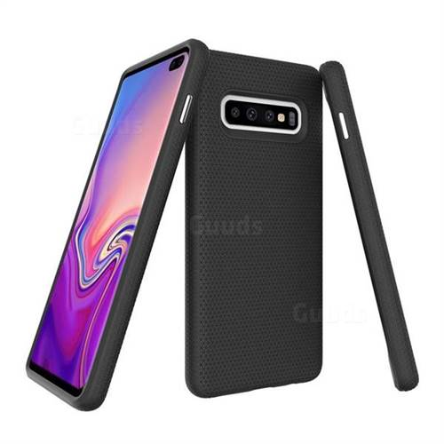 Triangle Texture Shockproof Hybrid Rugged Armor Defender Phone Case for Samsung Galaxy S10 Plus(6.4 inch) - Black