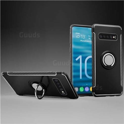 Armor Anti Drop Carbon PC + Silicon Invisible Ring Holder Phone Case for Samsung Galaxy S10 Plus(6.4 inch) - Black