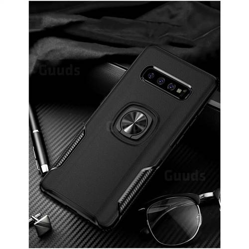 Knight Armor Anti Drop PC + Silicone Invisible Ring Holder Phone Cover for Samsung Galaxy S10 Plus(6.4 inch) - Black