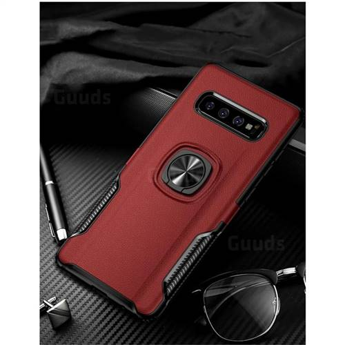 Knight Armor Anti Drop PC + Silicone Invisible Ring Holder Phone Cover for Samsung Galaxy S10 Plus(6.4 inch) - Red