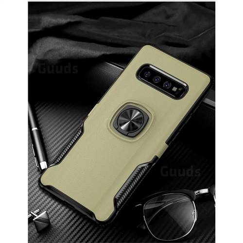 Knight Armor Anti Drop PC + Silicone Invisible Ring Holder Phone Cover for Samsung Galaxy S10 Plus(6.4 inch) - Champagne
