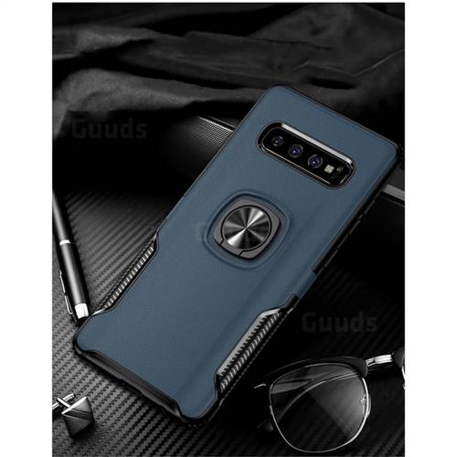 Knight Armor Anti Drop PC + Silicone Invisible Ring Holder Phone Cover for Samsung Galaxy S10 Plus(6.4 inch) - Sapphire