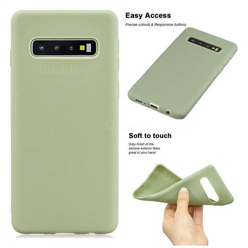 Soft Matte Silicone Phone Cover for Samsung Galaxy S10 Plus(6.4 inch) - Bean Green