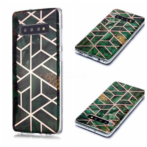 Green Rhombus Galvanized Rose Gold Marble Phone Back Cover for Samsung Galaxy S10 Plus(6.4 inch)