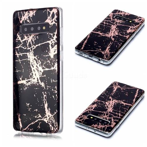 Black Galvanized Rose Gold Marble Phone Back Cover for Samsung Galaxy S10 Plus(6.4 inch)