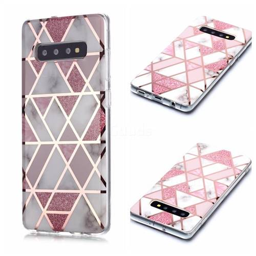 Pink Rhombus Galvanized Rose Gold Marble Phone Back Cover for Samsung Galaxy S10 Plus(6.4 inch)