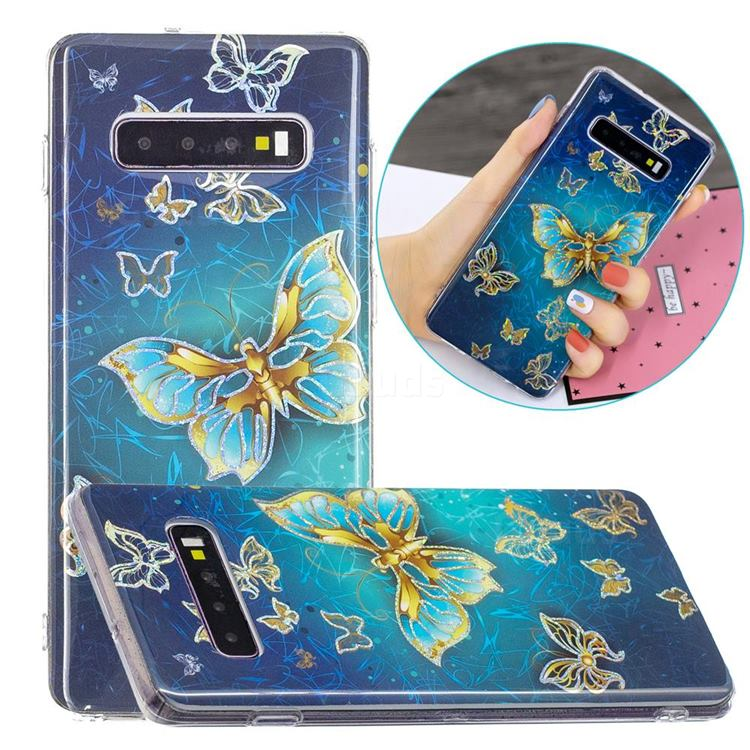 Golden Butterfly Painted Galvanized Electroplating Soft Phone Case Cover for Samsung Galaxy S10 Plus(6.4 inch)