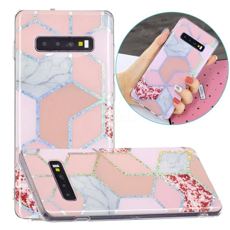 Pink Marble Painted Galvanized Electroplating Soft Phone Case Cover for Samsung Galaxy S10 Plus(6.4 inch)