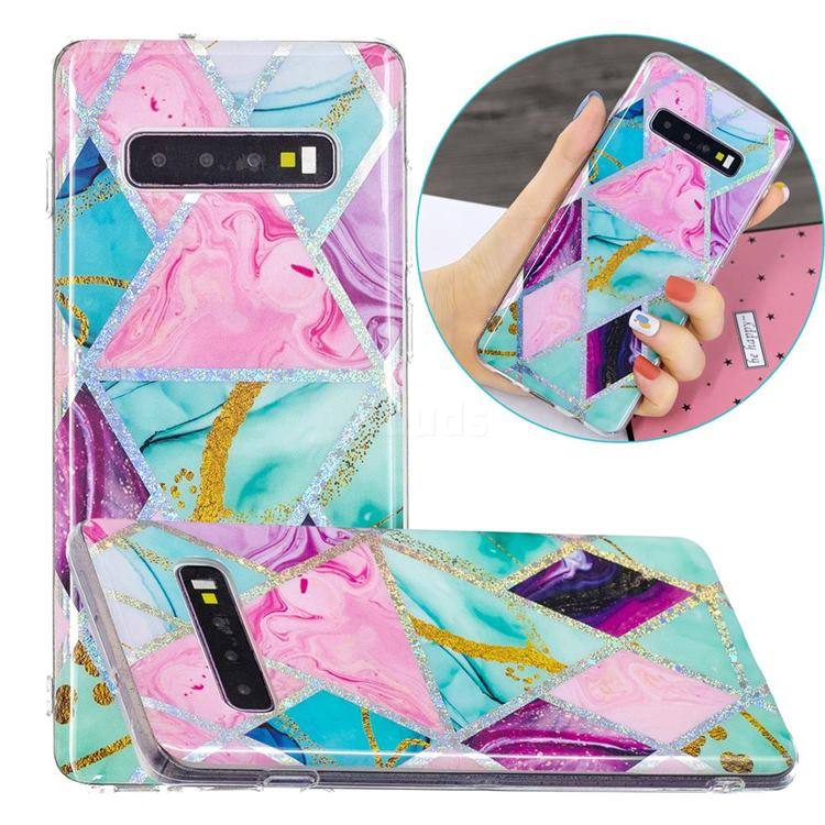 Triangular Marble Painted Galvanized Electroplating Soft Phone Case Cover for Samsung Galaxy S10 Plus(6.4 inch)