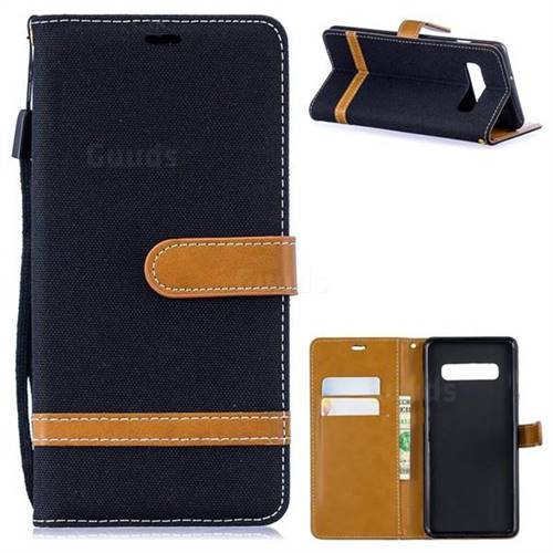 Jeans Cowboy Denim Leather Wallet Case for Samsung Galaxy S10 Plus(6.4 inch) - Black