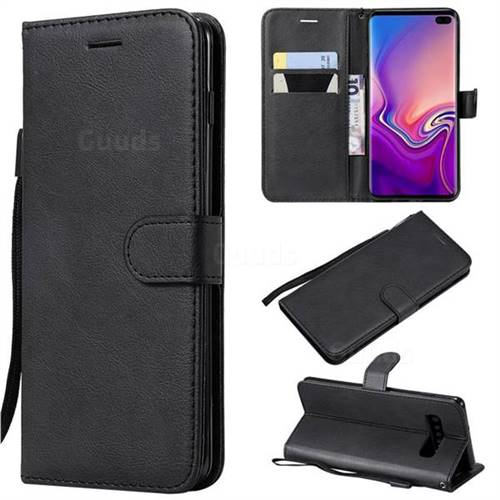 Retro Greek Classic Smooth PU Leather Wallet Phone Case for Samsung Galaxy S10 Plus(6.4 inch) - Black