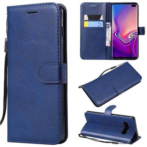Retro Greek Classic Smooth PU Leather Wallet Phone Case for Samsung Galaxy S10 Plus(6.4 inch) - Blue