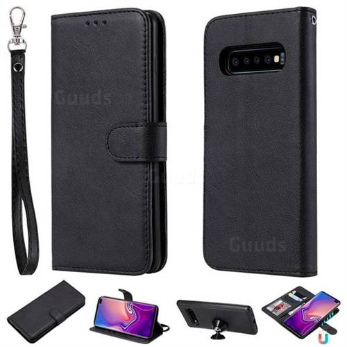 Retro Greek Detachable Magnetic PU Leather Wallet Phone Case for Samsung Galaxy S10 Plus(6.4 inch) - Black