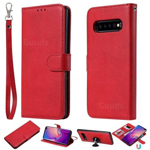 new arrival 928b3 b75c9 Retro Greek Detachable Magnetic PU Leather Wallet Phone Case for Samsung  Galaxy S10 Plus(6.4 inch) - Red