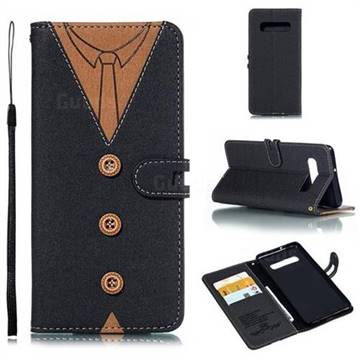 Mens Button Clothing Style Leather Wallet Phone Case for Samsung Galaxy S10 Plus(6.4 inch) - Black