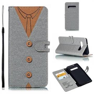 Mens Button Clothing Style Leather Wallet Phone Case for Samsung Galaxy S10 Plus(6.4 inch) - Gray