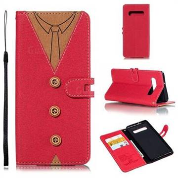 Mens Button Clothing Style Leather Wallet Phone Case for Samsung Galaxy S10 Plus(6.4 inch) - Red