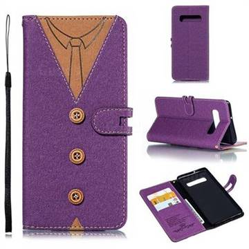 Mens Button Clothing Style Leather Wallet Phone Case for Samsung Galaxy S10 Plus(6.4 inch) - Purple