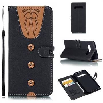 Ladies Bow Clothes Pattern Leather Wallet Phone Case for Samsung Galaxy S10 Plus(6.4 inch) - Black