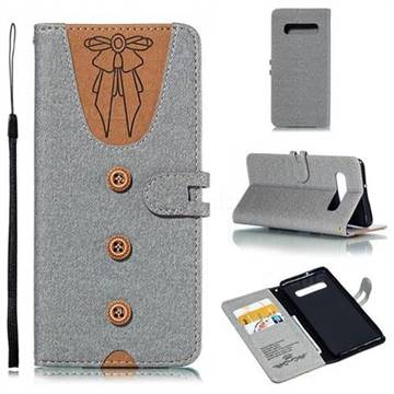 Ladies Bow Clothes Pattern Leather Wallet Phone Case for Samsung Galaxy S10 Plus(6.4 inch) - Gray