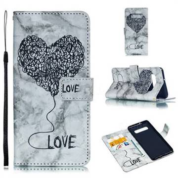 Marble Heart PU Leather Wallet Phone Case for Samsung Galaxy S10 Plus(6.4 inch) - Black