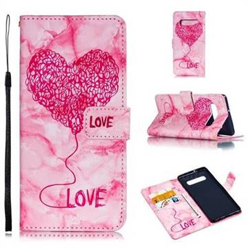 Marble Heart PU Leather Wallet Phone Case for Samsung Galaxy S10 Plus(6.4 inch) - Red