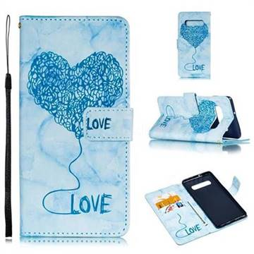 Marble Heart PU Leather Wallet Phone Case for Samsung Galaxy S10 Plus(6.4 inch) - Blue