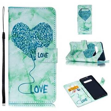 Marble Heart PU Leather Wallet Phone Case for Samsung Galaxy S10 Plus(6.4 inch) - Green