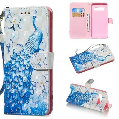 Blue Peacock 3D Painted Leather Wallet Phone Case for Samsung Galaxy S10  Plus(6 4 inch) - Galaxy S10 Plus Cases - Guuds