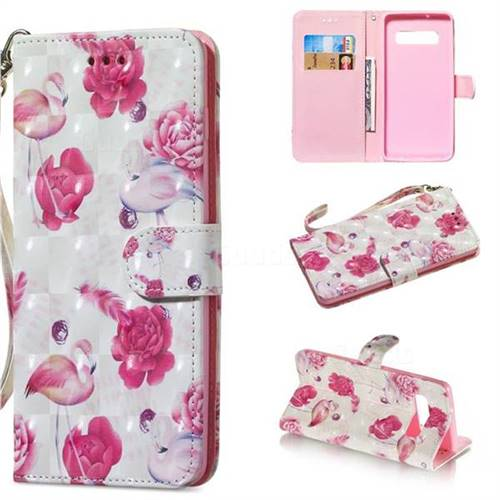 Flamingo 3D Painted Leather Wallet Phone Case for Samsung Galaxy S10 Plus(6.4 inch)