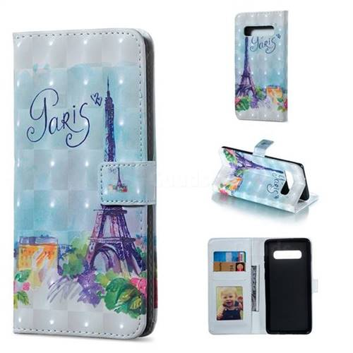 Paris Tower 3D Painted Leather Phone Wallet Case for Samsung Galaxy S10 Plus(6.4 inch)