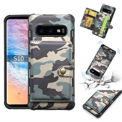Camouflage Multi-function Leather Phone Case for Samsung Galaxy S10 Plus(6.4 inch) - Gray
