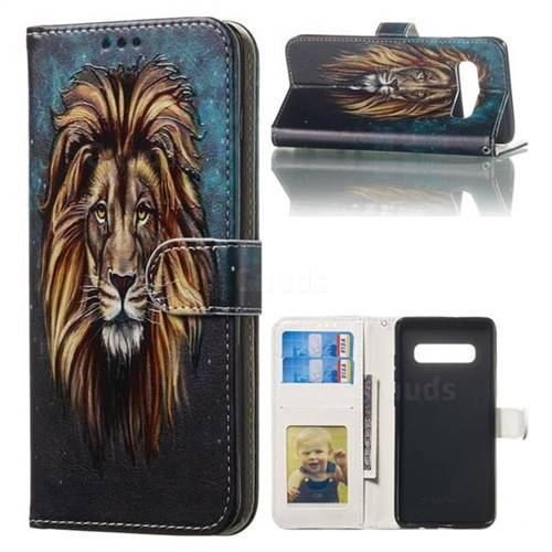 Ice Lion 3D Relief Oil PU Leather Wallet Case for Samsung Galaxy S10 Plus(6.4 inch)