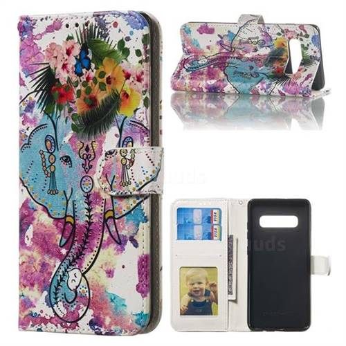 Flower Elephant 3D Relief Oil PU Leather Wallet Case for Samsung Galaxy S10 Plus(6.4 inch)