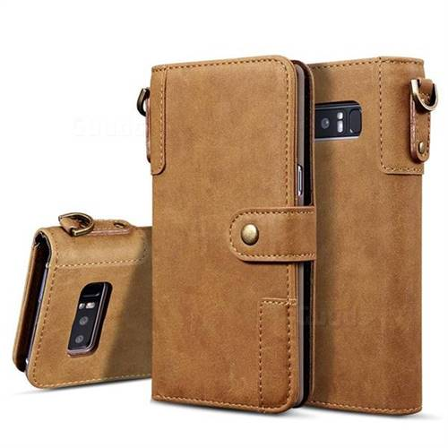 Retro Luxury Cowhide Leather Wallet Case for Samsung Galaxy S10 Plus(6.4 inch) - Brown