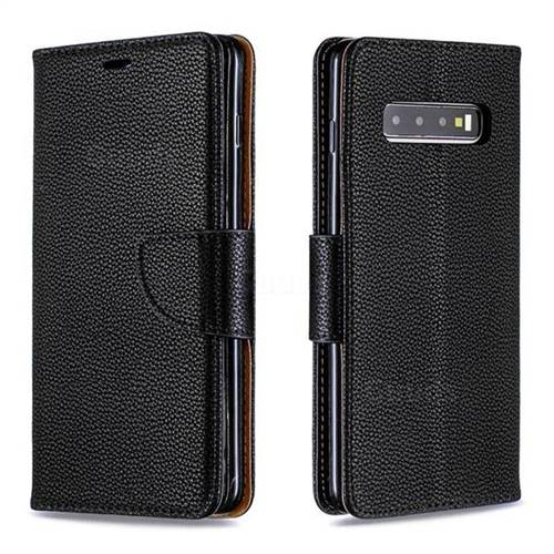 Classic Luxury Litchi Leather Phone Wallet Case for Samsung Galaxy S10 Plus(6.4 inch) - Black