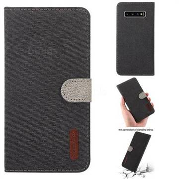 Linen Cloth Pudding Leather Case for Samsung Galaxy S10 Plus(6.4 inch) - Black