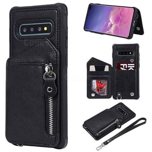 Classic Luxury Buckle Zipper Anti-fall Leather Phone Back Cover for Samsung Galaxy S10 Plus(6.4 inch) - Black