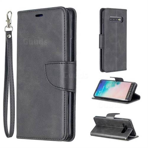 Classic Sheepskin PU Leather Phone Wallet Case for Samsung Galaxy S10 Plus(6.4 inch) - Black