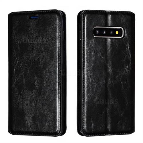 Retro Slim Magnetic Crazy Horse PU Leather Wallet Case for Samsung Galaxy S10 Plus(6.4 inch) - Black