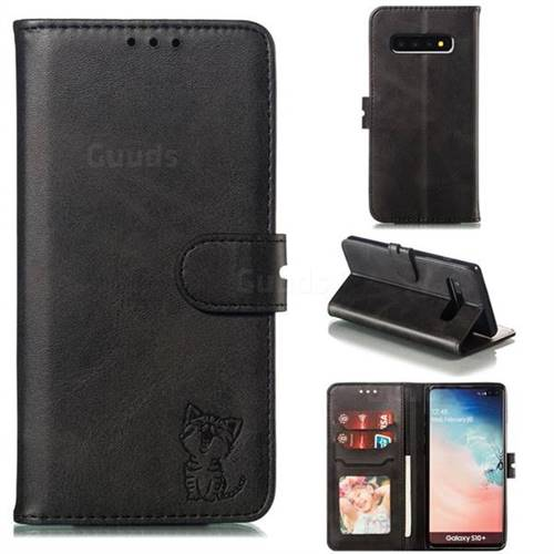 Embossing Happy Cat Leather Wallet Case for Samsung Galaxy S10 Plus(6.4 inch) - Black