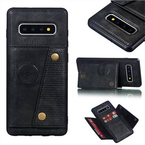 Retro Multifunction Card Slots Stand Leather Coated Phone Back Cover for Samsung Galaxy S10 Plus(6.4 inch) - Black