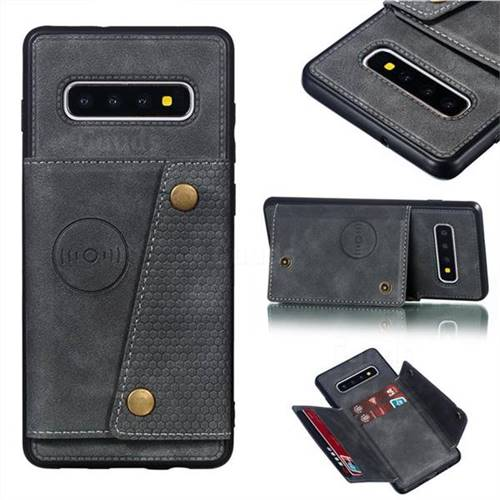 Retro Multifunction Card Slots Stand Leather Coated Phone Back Cover for Samsung Galaxy S10 Plus(6.4 inch) - Gray