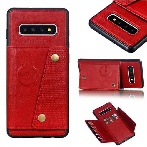 Retro Multifunction Card Slots Stand Leather Coated Phone Back Cover for Samsung Galaxy S10 Plus(6.4 inch) - Red