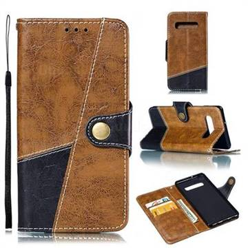 Retro Magnetic Stitching Wallet Flip Cover for Samsung Galaxy S10 Plus(6.4 inch) - Brown